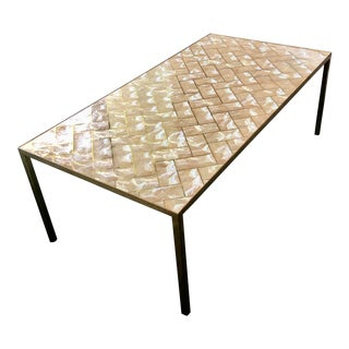 Capiz and Gold Cocktail Table For Sale