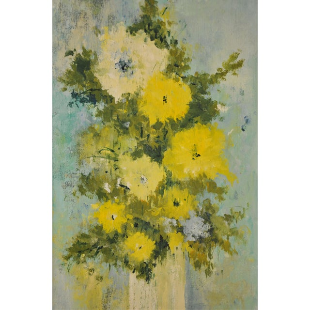 """Modern Vintage Framed Mid-Century Flower Painting on Canvas """"White Vase"""" by Emily Whaley For Sale - Image 3 of 11"""
