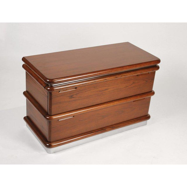 Jay Spectre Modernist Walnut and Brushed Stainless Nightstands For Sale In Dallas - Image 6 of 10