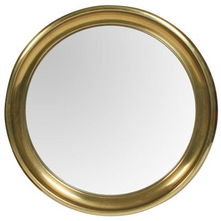 Mastercraft Circular Brass Framed Porthole Mirror For Sale