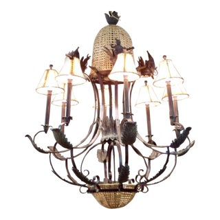 1990s Boho Chic Maitland Smith Bronze and Cane Dressed Up Monkeys Chandelier For Sale
