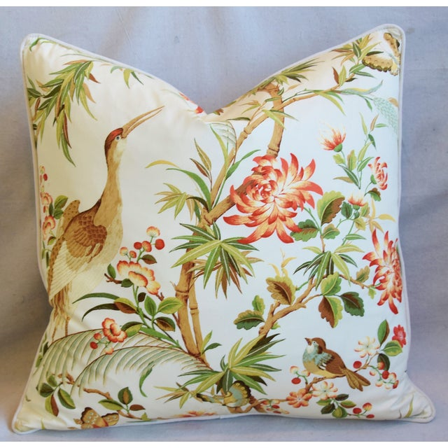 "Early 21st Century Chinoiserie Floral Birds & Crane Feather/Down Pillow 24"" Square For Sale - Image 5 of 6"