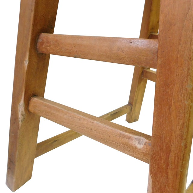 Chinese Rustic Raw Wood Accent Sitting Stool For Sale - Image 4 of 8