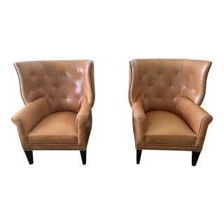 Mitchell Gold + Bob Williams Leather Wingback Chairs- a Pair For Sale