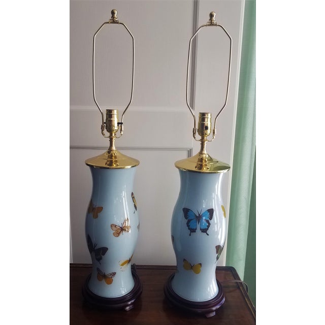Metal Hand Designed Decoupaged Butterfly Glass Lamps With Blue - a Pair For Sale - Image 7 of 7