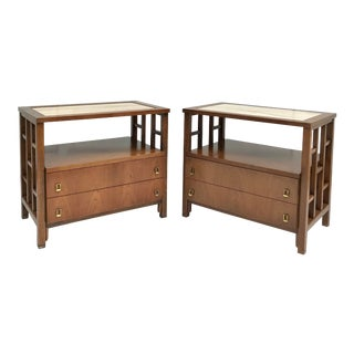 Vintage MDC Italian Marble and Lattice Side Nightstands For Sale