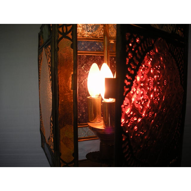 Brown Moroccan Pierced Brass Hanging Lantern For Sale - Image 8 of 12