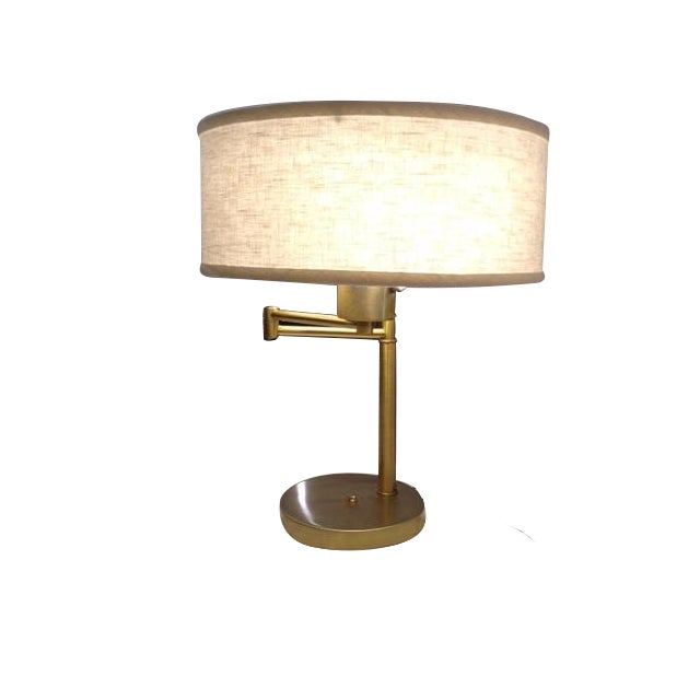 Vintage Brass Swing Arm Desk Lamp with Drum Shade - Image 1 of 7