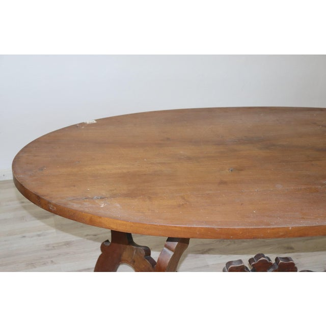 Walnut 20th Century Italian Fratino Walnut Wood Oval Table With Lyre-Shaped Legs For Sale - Image 7 of 9