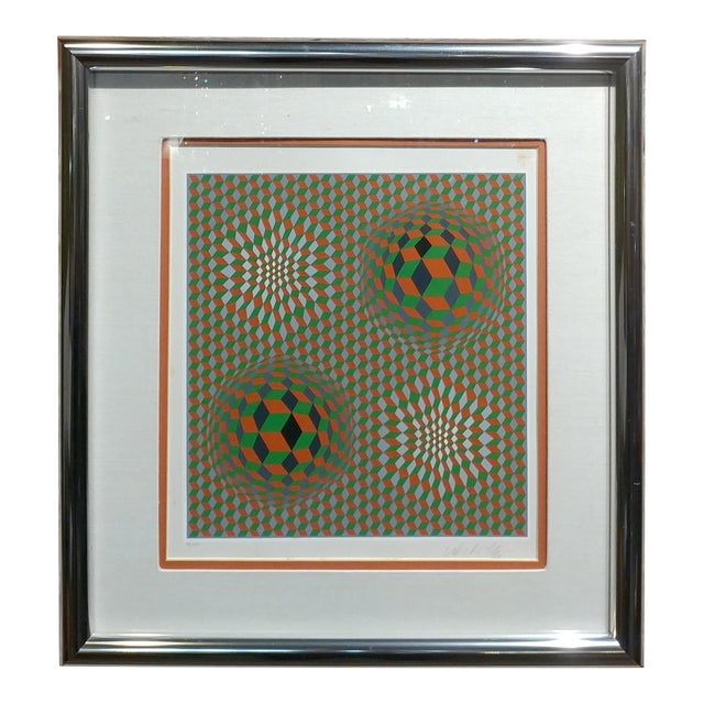 Victor Vasarely - Geometric Abstract - Signed Vintage Serigraph For Sale