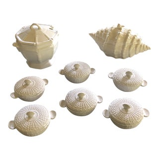 Shell & Bamboo Soup Tureen & Bowls Serving Set