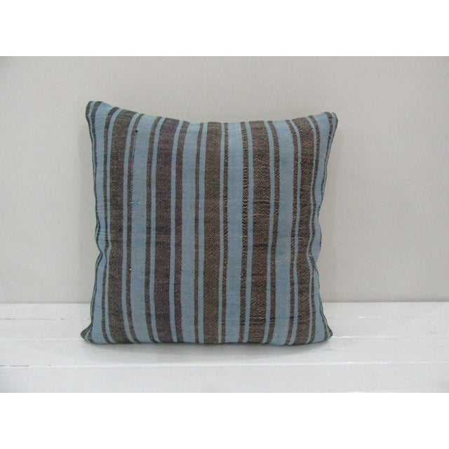 Vintage Handmade Striped Kilim Pillow Cover For Sale - Image 4 of 4