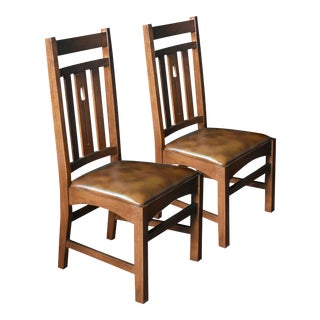 Crafters and Weavers Arrow Back Dining Side Chairs- A Pair For Sale