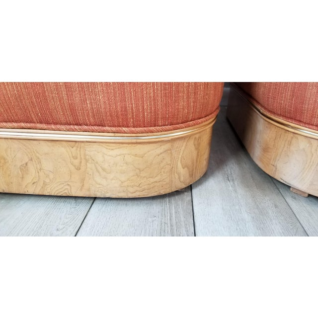 Milo Baughman for Lane Burl Wood Base Slipper Lounge Chairs - a Pair For Sale - Image 9 of 12