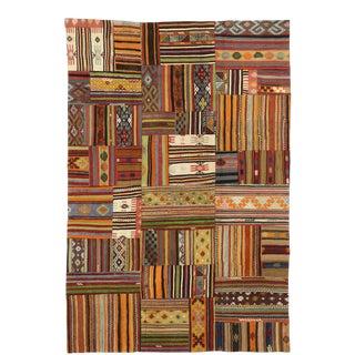Vintage Turkish Patchwork Kilim Plaid Rug With Preppy Madras Style - 06'07 X 09'09 For Sale