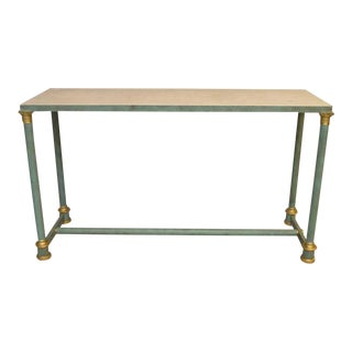1980s Neoclassical Bronze Brass and Travertine Marble Inset Console Table For Sale