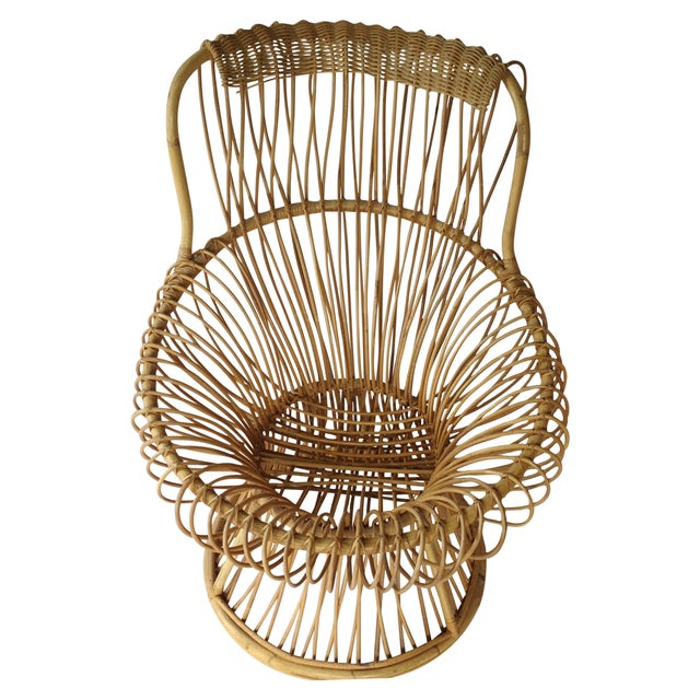 Franco Albini Style Vintage Rattan Margarita Chair For Sale