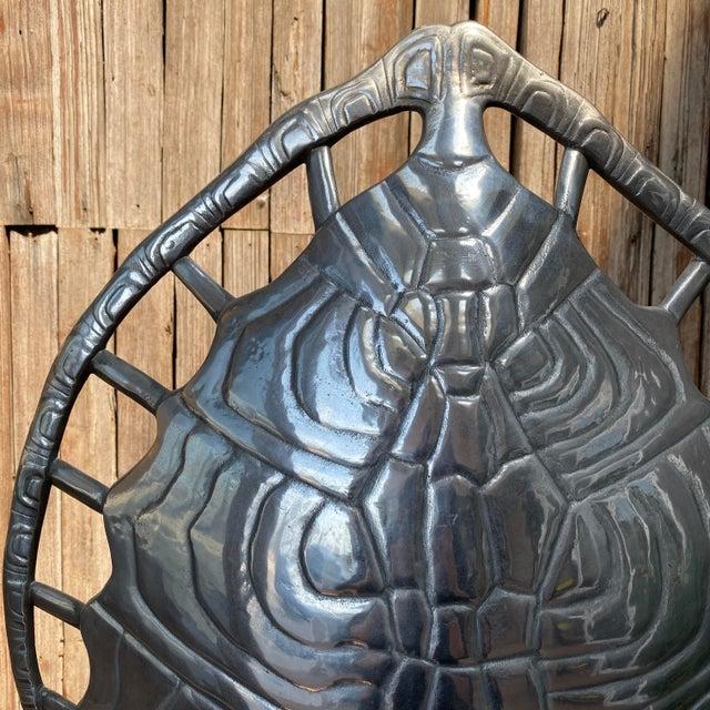 1970s Mid-Century Modern Arthur Court Aluminum Tortoise Table Lamp For Sale - Image 10 of 13