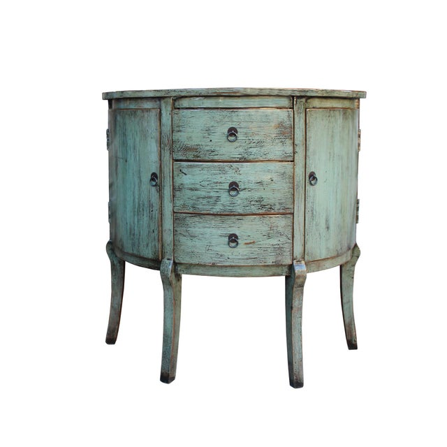 Celadon Chinese Distressed Gray Celadon Color Wood Craw Legs Half Table For Sale - Image 8 of 8