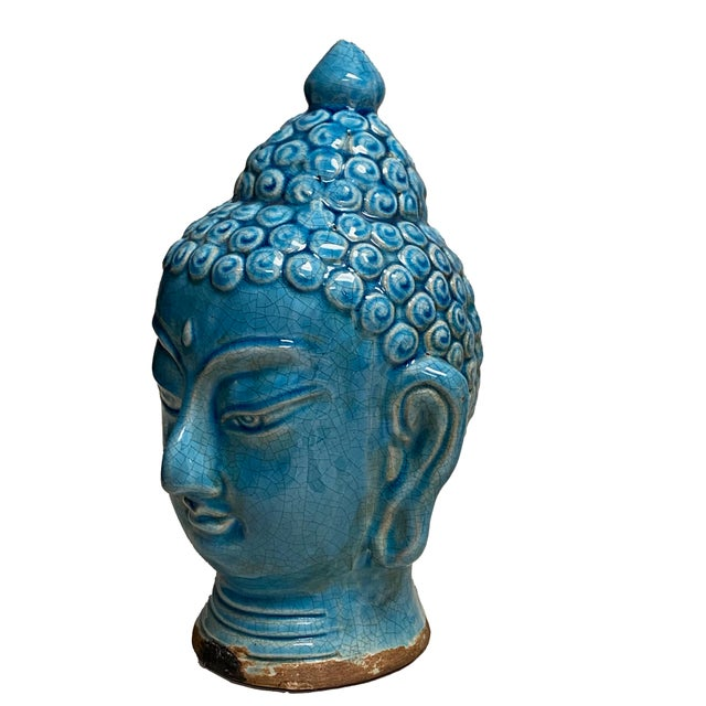 Early 20th Century Blue Glazed Buddha Head For Sale - Image 4 of 12