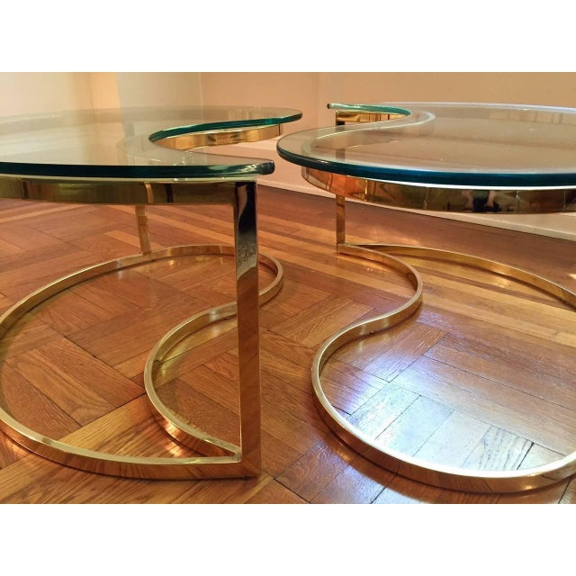 Ying Yang Motif Brass And Glass Coffee Cocktail Table Chairish