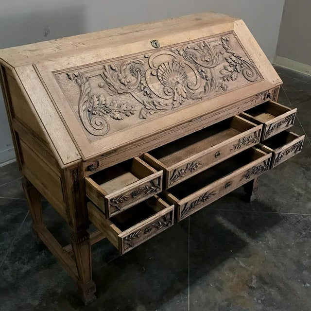 19th Century French Louis XIV Stripped Oak Secretary For Sale In Dallas - Image 6 of 11