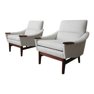 Pair of Mid Century Danish Style Lounge Chairs For Sale