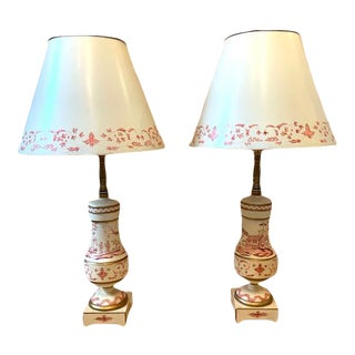 Chinoiserie Wood Hand Painted Lamps With Matching Tole Shades - a Pair For Sale