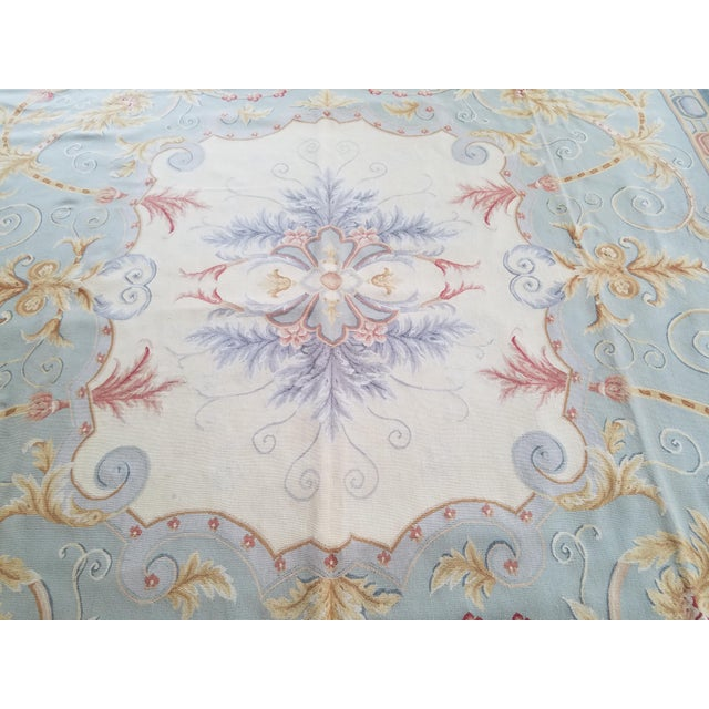 Handmade Blue Gray, Ivory, Gold and Teracotta Aubusson Style Area Rug - 8′10″ × 12′2″ For Sale In Miami - Image 6 of 8