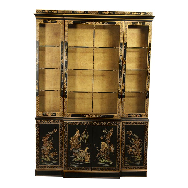Drexel Heritage Et Cetera Black & Gold Asian Chinoiserie Breakfront For Sale