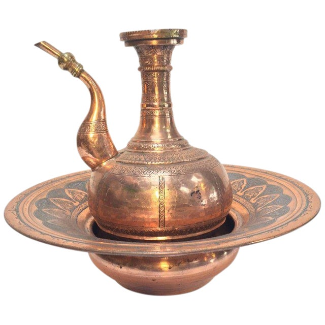 Middle Eastern Turkish Ewer and Copper Basin For Sale