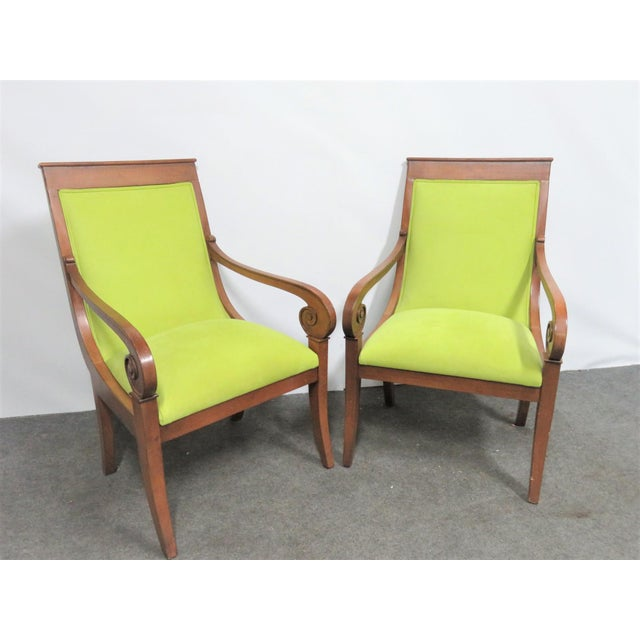 Textile Ethan Allen Regency Style Chairs- a Pair For Sale - Image 7 of 11