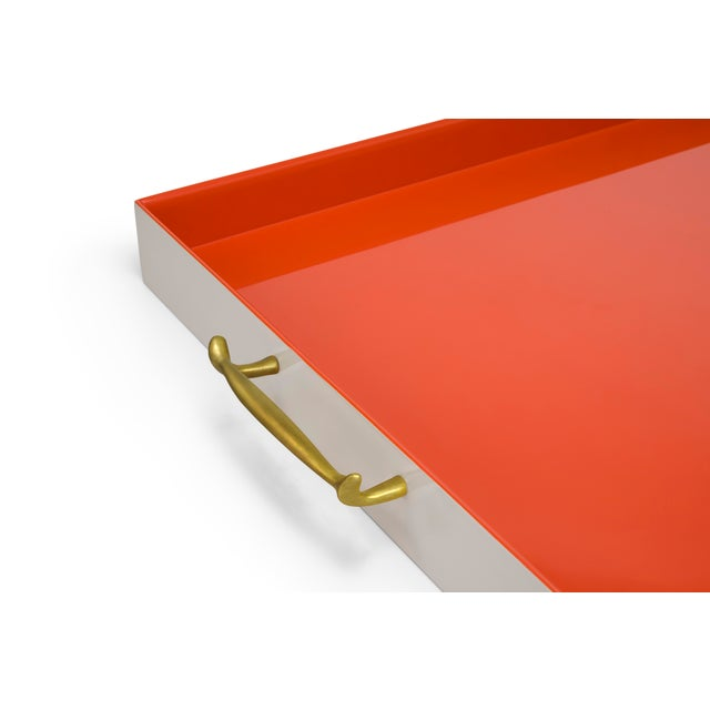 Contemporary Large Tray in Warm Grey / Orange - Pentreath & Hall for The Lacquer Company For Sale - Image 3 of 4