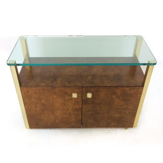 Gold Burled Wood & Brass Console by Century Furniture Company For Sale - Image 8 of 10