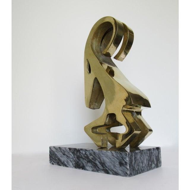Vintage Mid-Century Large Modernist Brass Ram Sculpture on Marble Slab For Sale In West Palm - Image 6 of 13