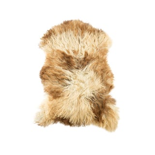 "Long Wool Sheepskin Pelt, Handmade Rug 2'2""x3'0"" For Sale"
