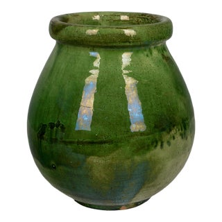 1900s Vintage French Green Glazed Terracotta Pottery Vase For Sale