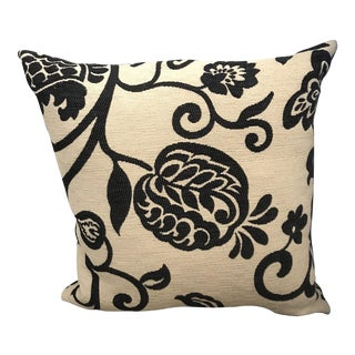 Black and Cream Floral Pillow with Down Insert