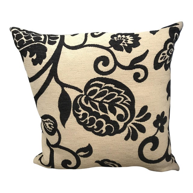 Image of Black and Cream Floral Pillow with Down Insert