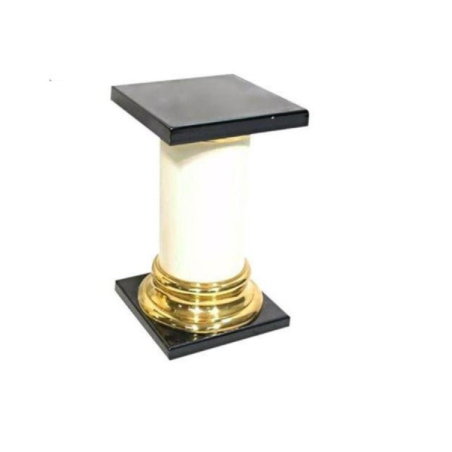 Mid-Century Modern Mastercraft Mid-Century Modern Lacquer Brass Pedestal Tables - A Pair For Sale - Image 3 of 9