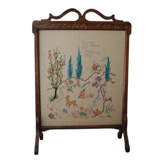 Antique Embroidered Oak Fireplace Screen For Sale