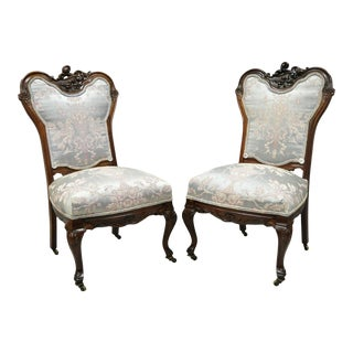 Antique Victorian Floral Scrollwork Carved Mahogany Parlor Side Chairs - a Pair For Sale