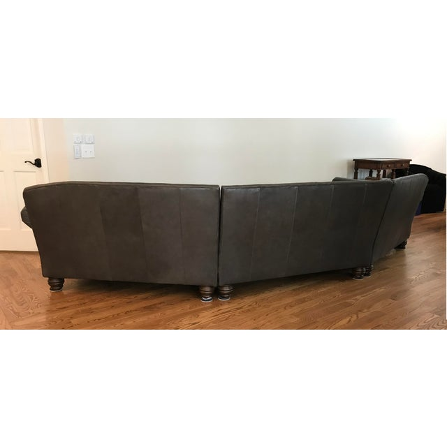 Hickory Furniture King Hickory Gray-Brown Leather Sectional For Sale - Image 4 of 13