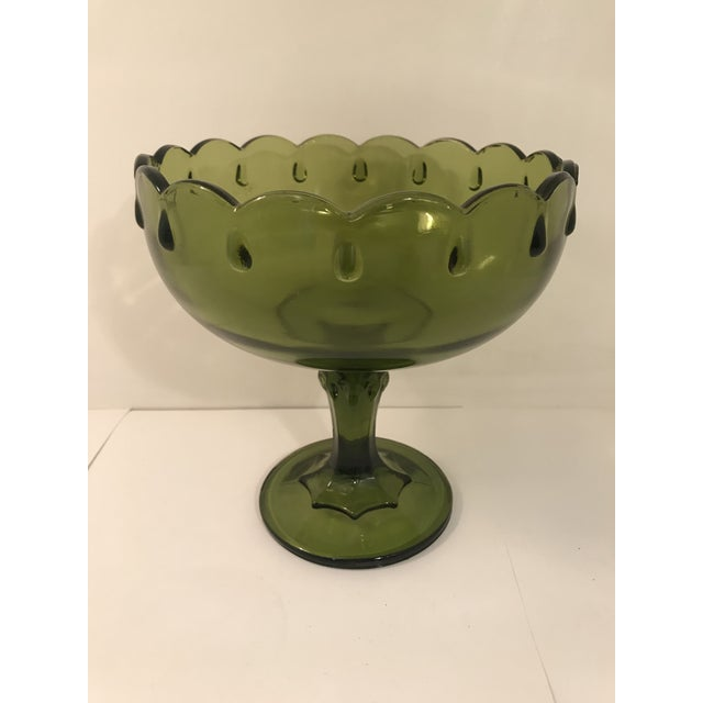 Indiana Glass Company 1960s Vintage Indiana Company Olive Green Glass Compote For Sale - Image 4 of 4