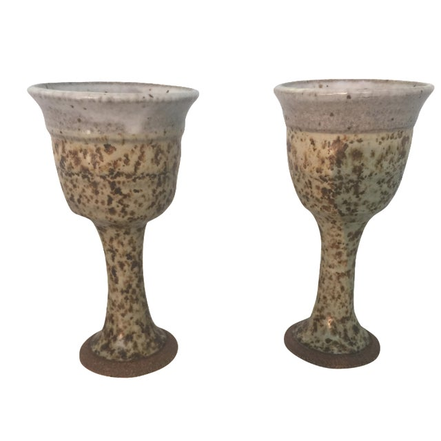 Mid-Century Brown Chalice/Goblets Pottery - Pair - Image 1 of 5