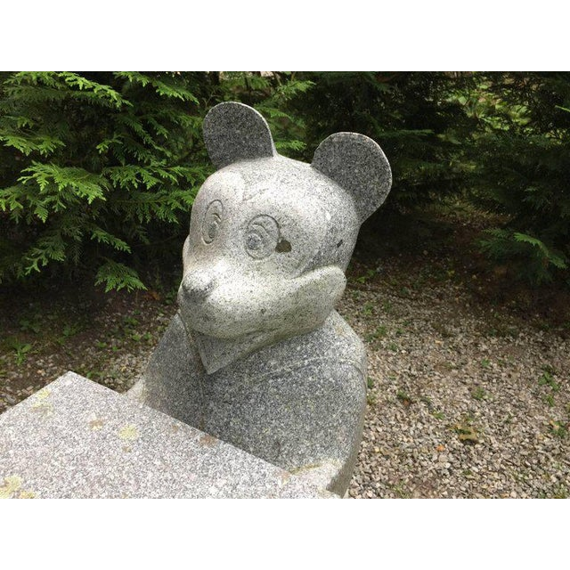 1960s Mickey Mouse and Minnie Mouse Bench in Carved Solid Granite For Sale - Image 5 of 6