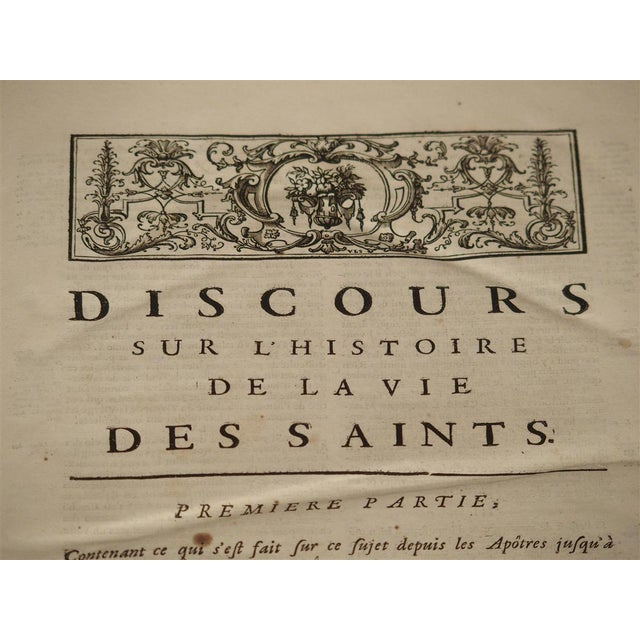 Leather Set of 18th Century French Leather Bound Books, Les Vies Des Saints, 1715 For Sale - Image 7 of 13