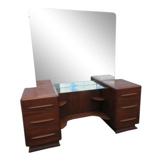 Mid Century Modern Vanity Dressing Table With Mirror by Carl Bissman For Sale