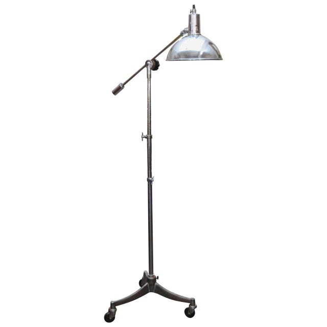 Mid-Century Adjustable Metal Lamp on Tripod Wheeled Base From England For Sale - Image 10 of 10