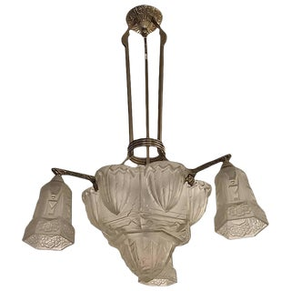 1930s Hettier & Vincent French Art Deco Chandelier For Sale